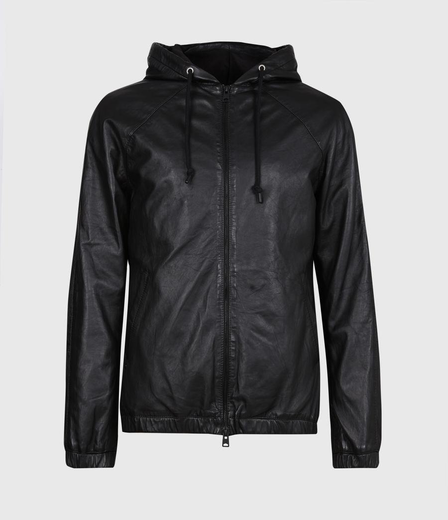 Men's Penton Leather Hoodie (black) - Image 2