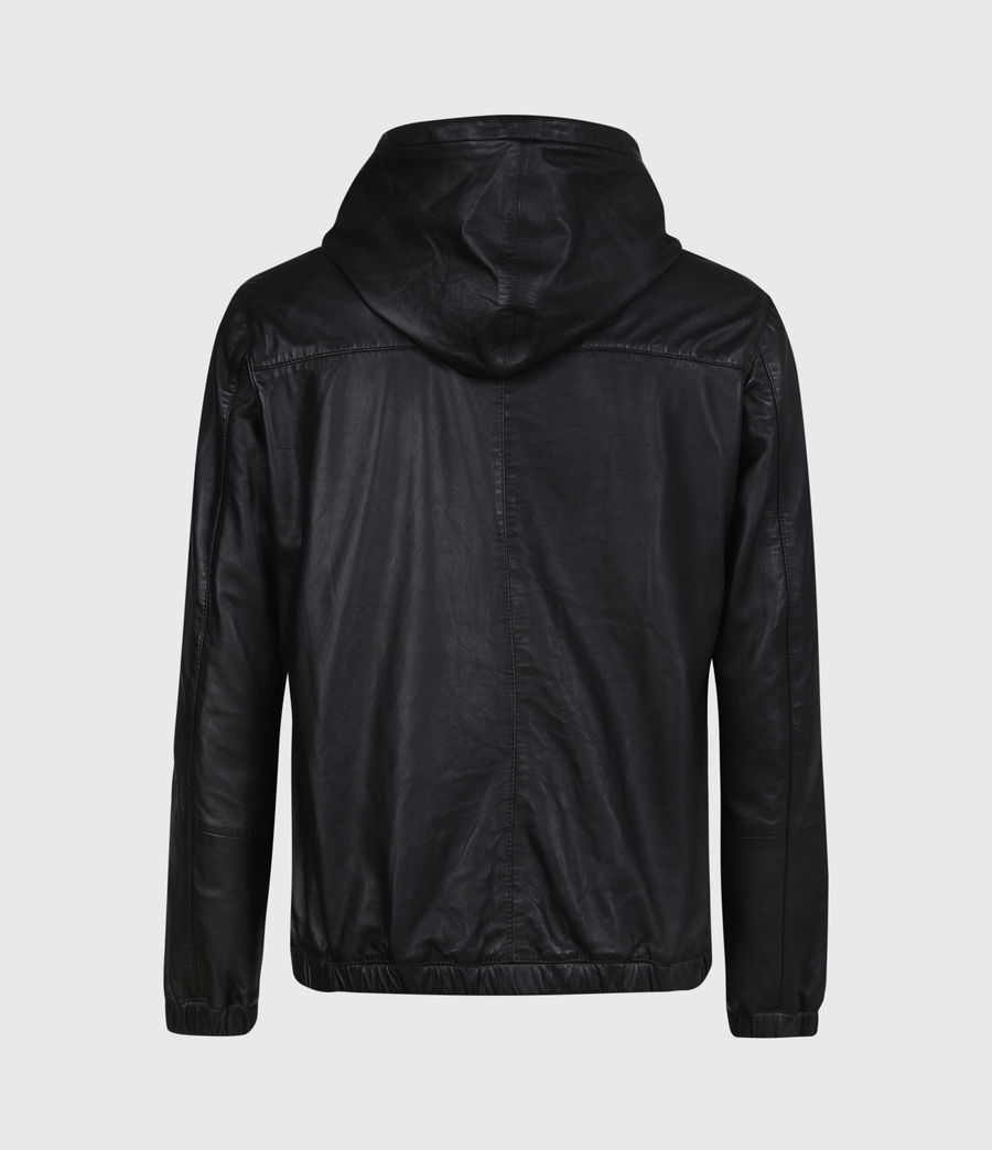 Men's Penton Leather Hoodie (black) - Image 3