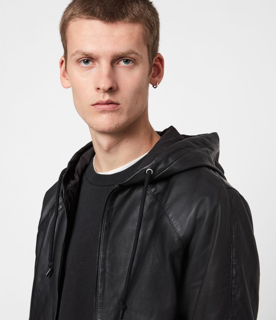 Men's Penton Leather Hoodie (black) - Image 4