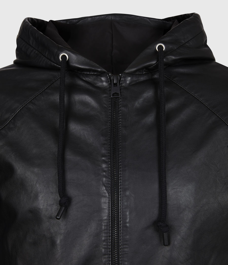 Men's Penton Leather Hoodie (black) - Image 5