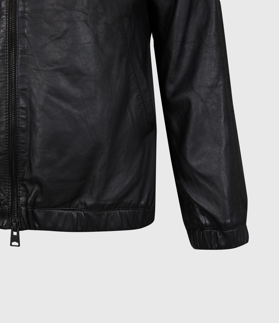 Men's Penton Leather Hoodie (black) - Image 6