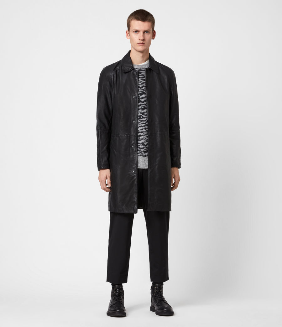 Mens Ireton Leather Trench Coat (black) - Image 1