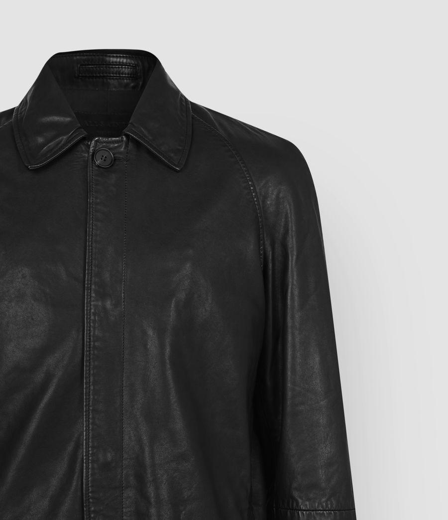 Mens Ireton Leather Trench Coat (black) - Image 4