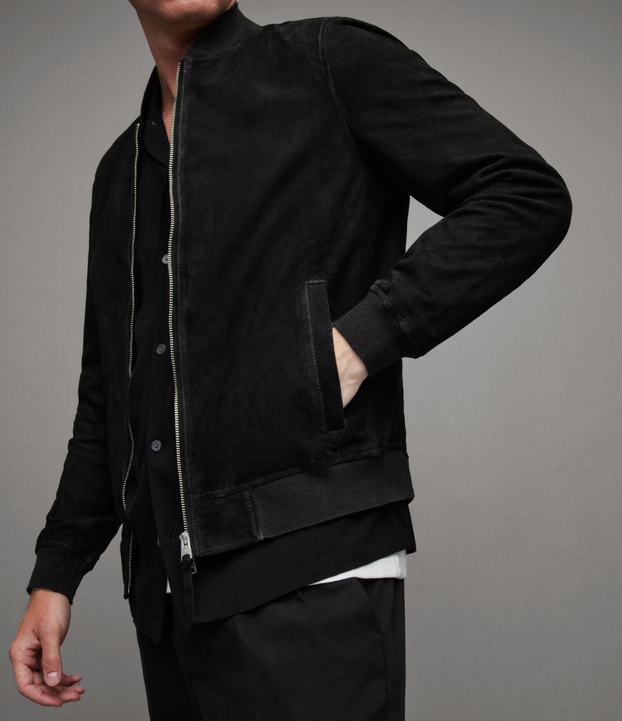 Men's Ronan Suede Bomber Jacket (black) - Image 4