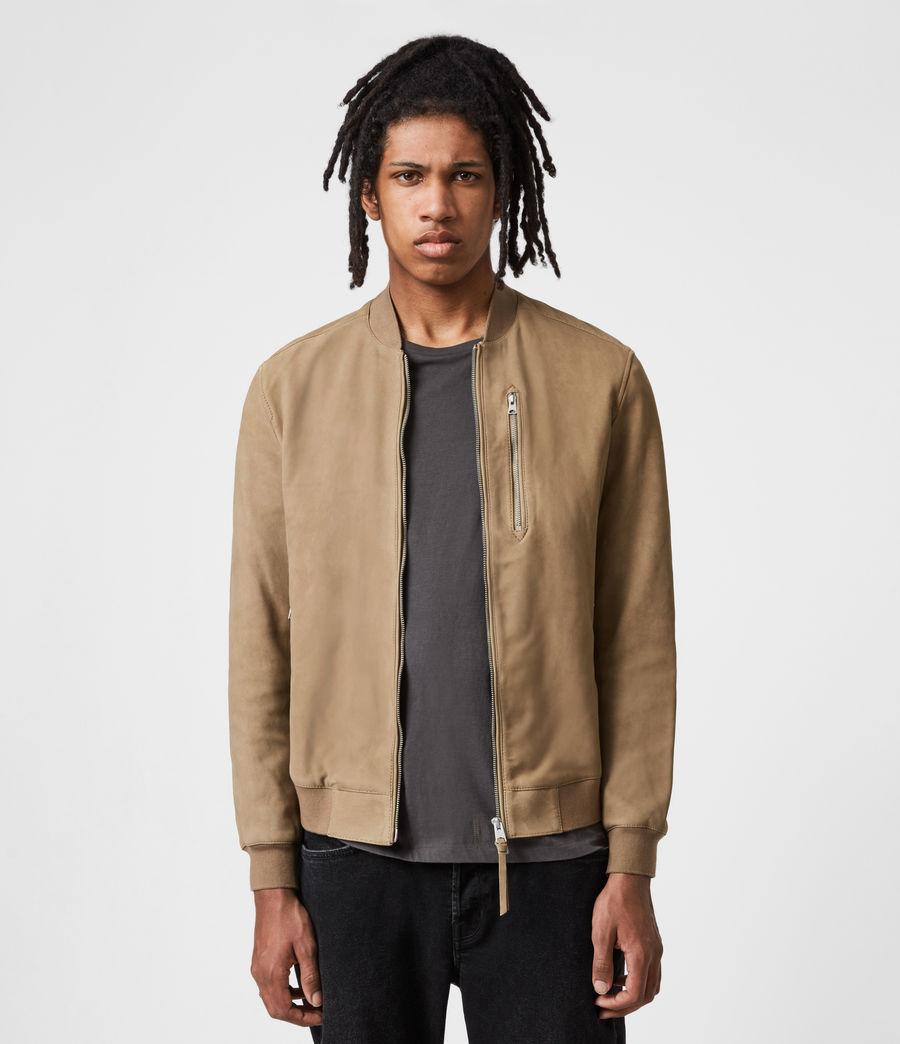 Mens Stones Nubuck Bomber Jacket (caenstone_brown) - Image 1