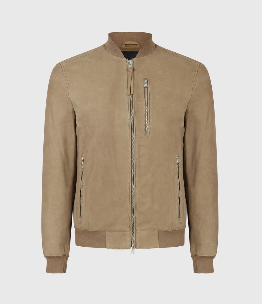 Mens Stones Nubuck Bomber Jacket (caenstone_brown) - Image 2