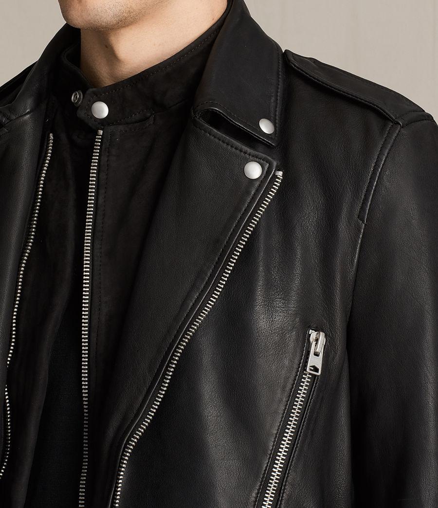 Mens Clint Leather Biker Jacket (black_washed) - Image 1