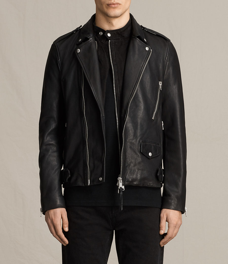 Mens Clint Leather Biker Jacket (black_washed) - Image 2