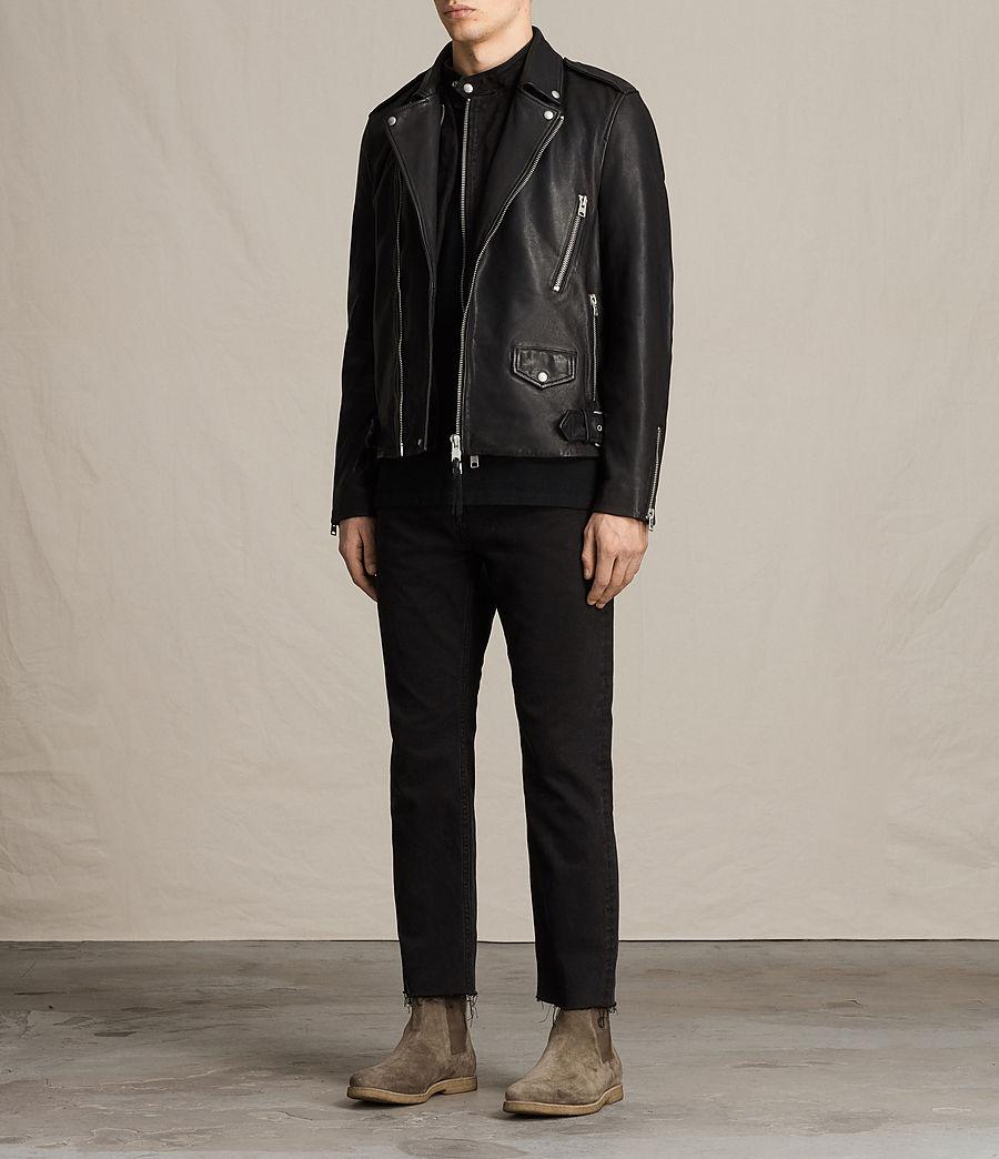 Mens Clint Leather Biker Jacket (black_washed) - Image 3