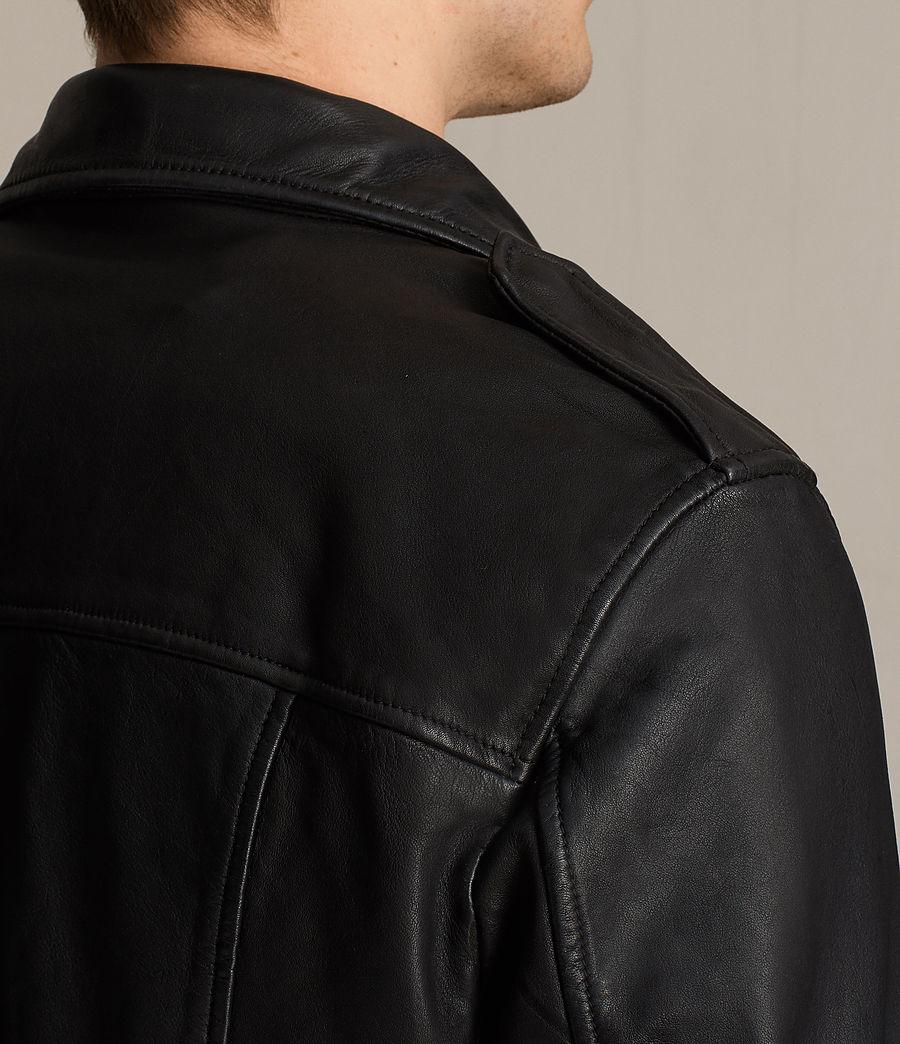 Mens Clint Leather Biker Jacket (black_washed) - Image 4