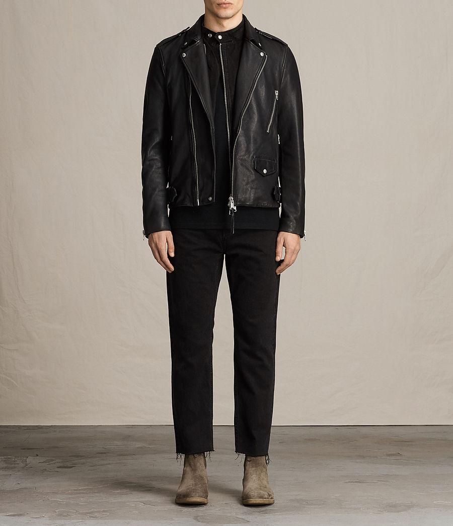 Mens Clint Leather Biker Jacket (black_washed) - Image 5
