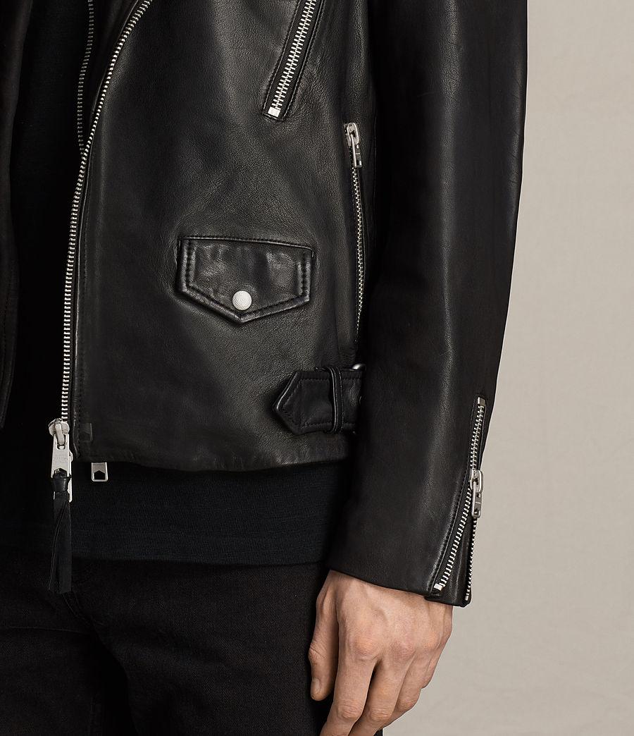 Mens Clint Leather Biker Jacket (black_washed) - Image 6