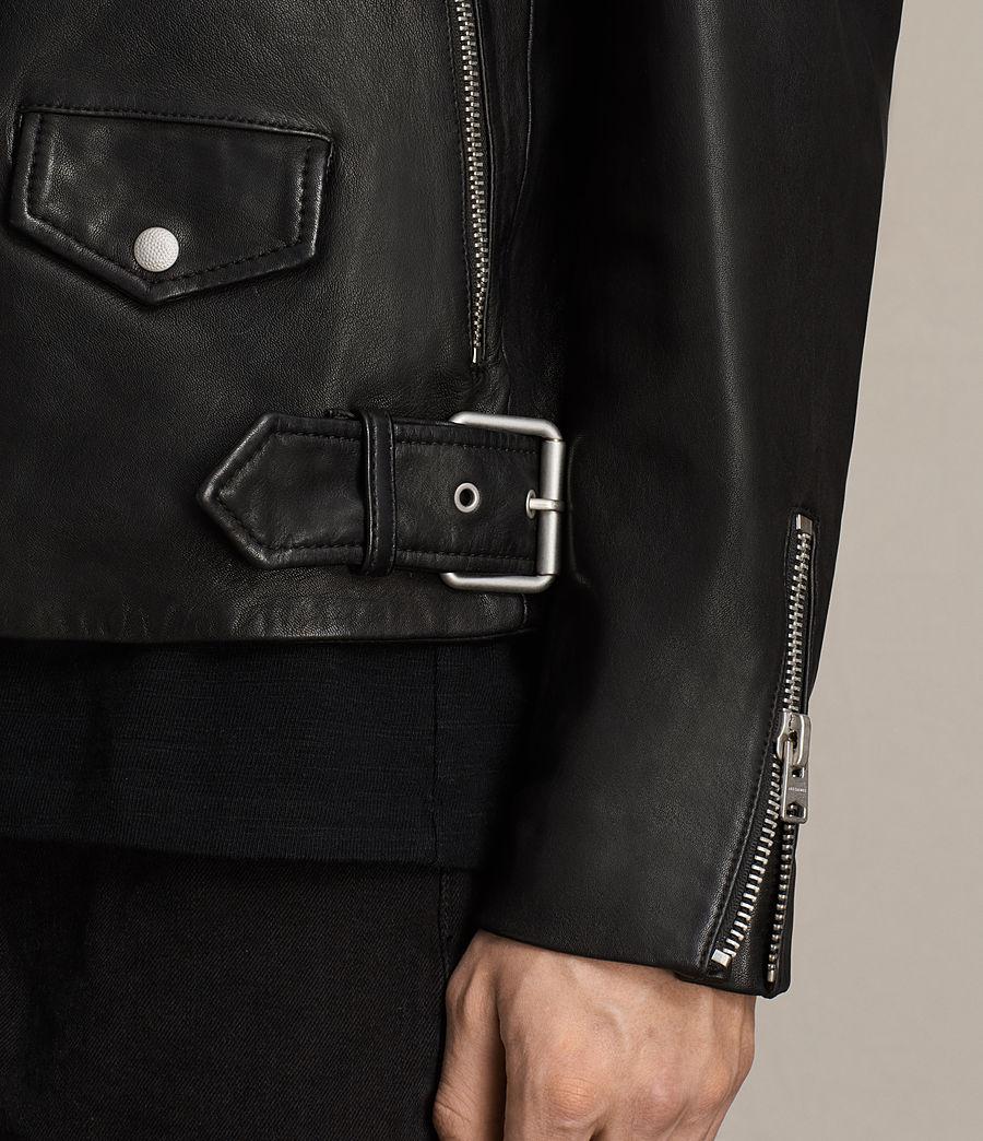 Mens Clint Leather Biker Jacket (black_washed) - Image 7