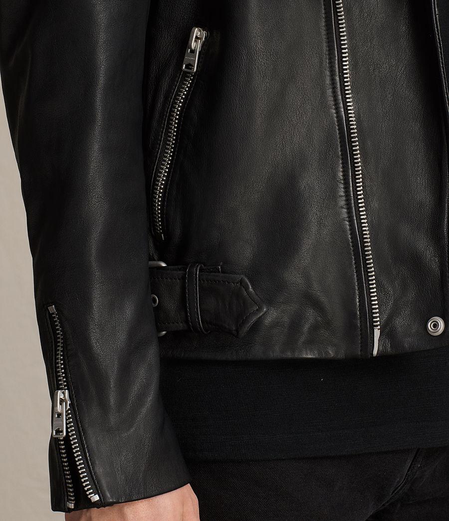 Mens Clint Leather Biker Jacket (black_washed) - Image 8