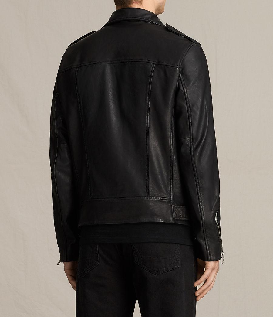 Mens Clint Leather Biker Jacket (black_washed) - Image 9