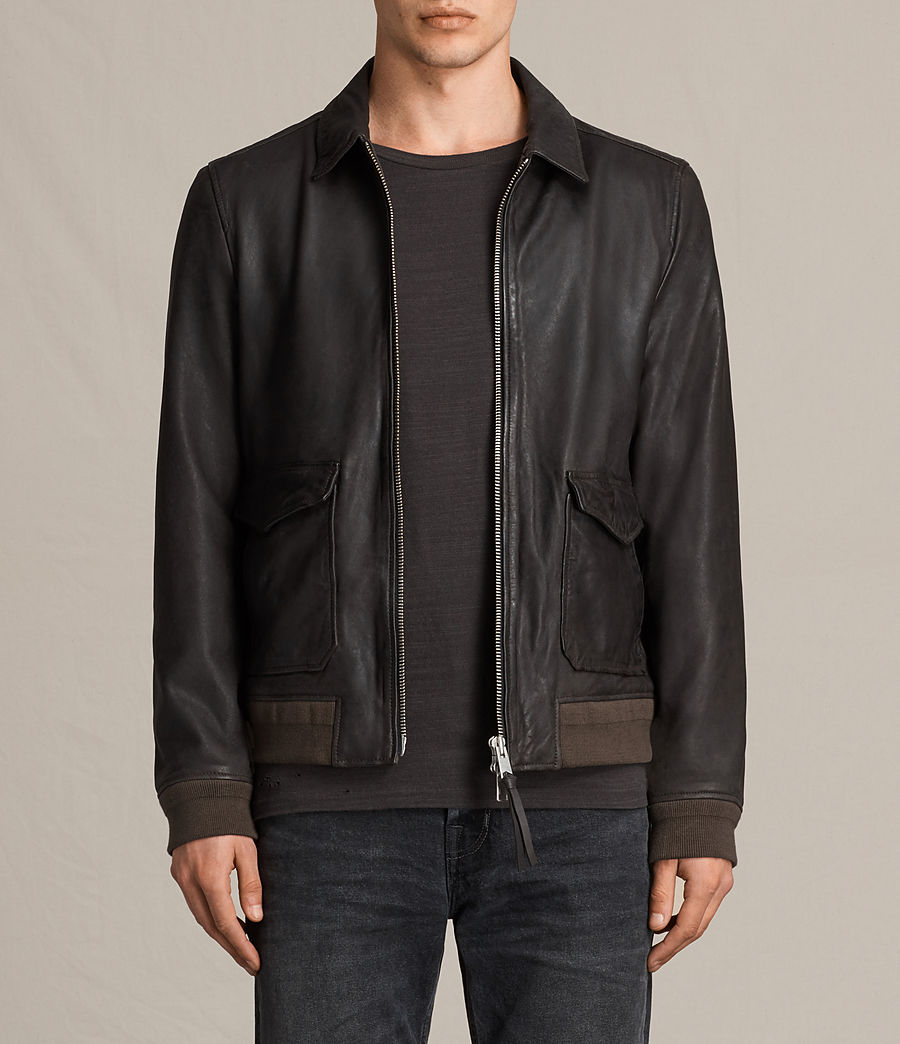 Mens Stano Aviator Leather Jacket (anthracite_grey) - Image 1