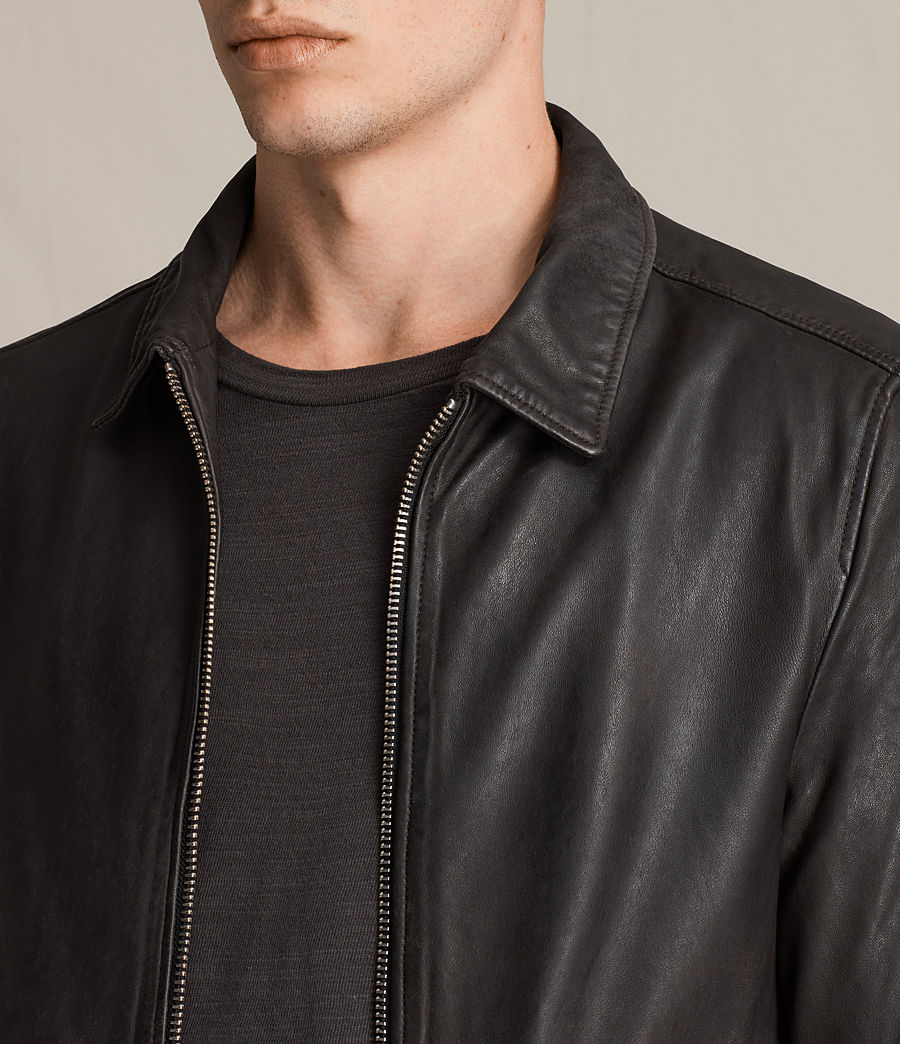 Mens Stano Aviator Leather Jacket (anthracite_grey) - Image 2