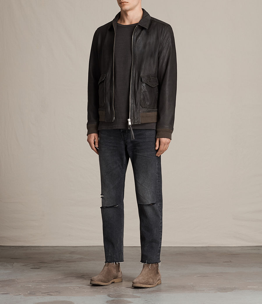 Mens Stano Aviator Leather Jacket (anthracite_grey) - Image 3