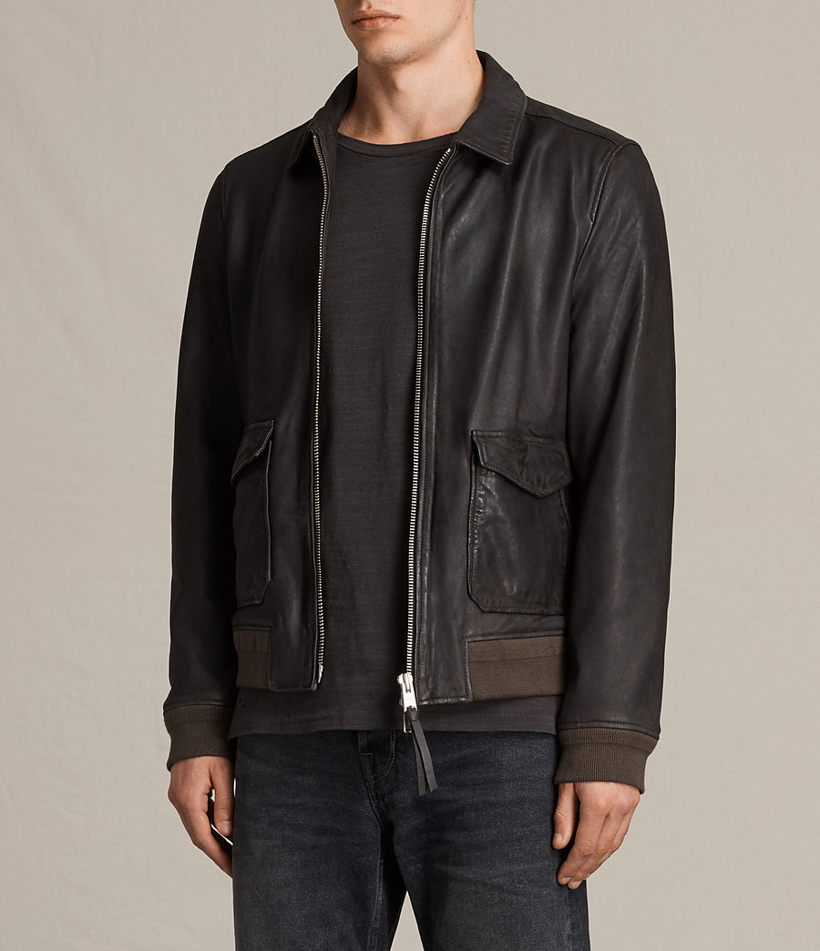 Mens Stano Aviator Leather Jacket (anthracite_grey) - Image 4