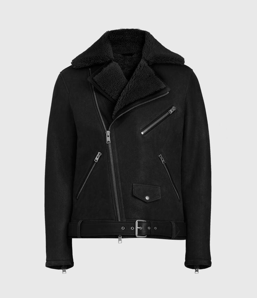 Mens Terro Shearling Biker Jacket (black) - Image 2