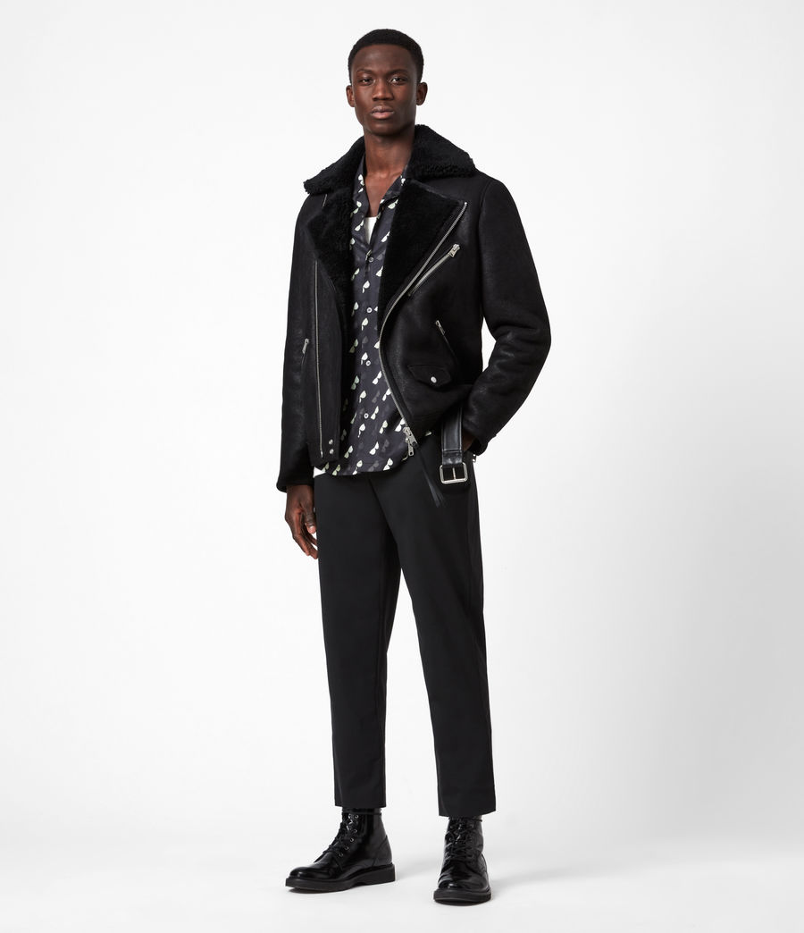 Men's Terro Shearling Biker Jacket (black) - Image 8