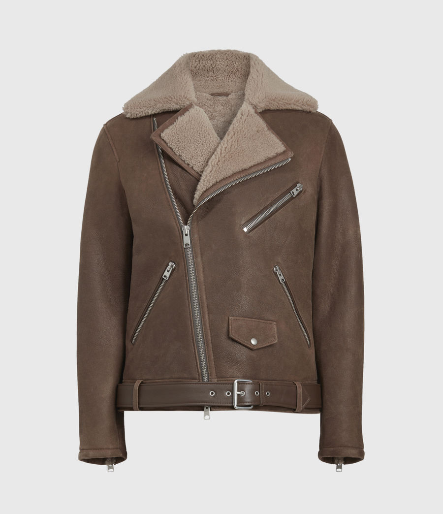 Men's Terro Shearling Biker Jacket (hazelnut_taupe) - Image 2