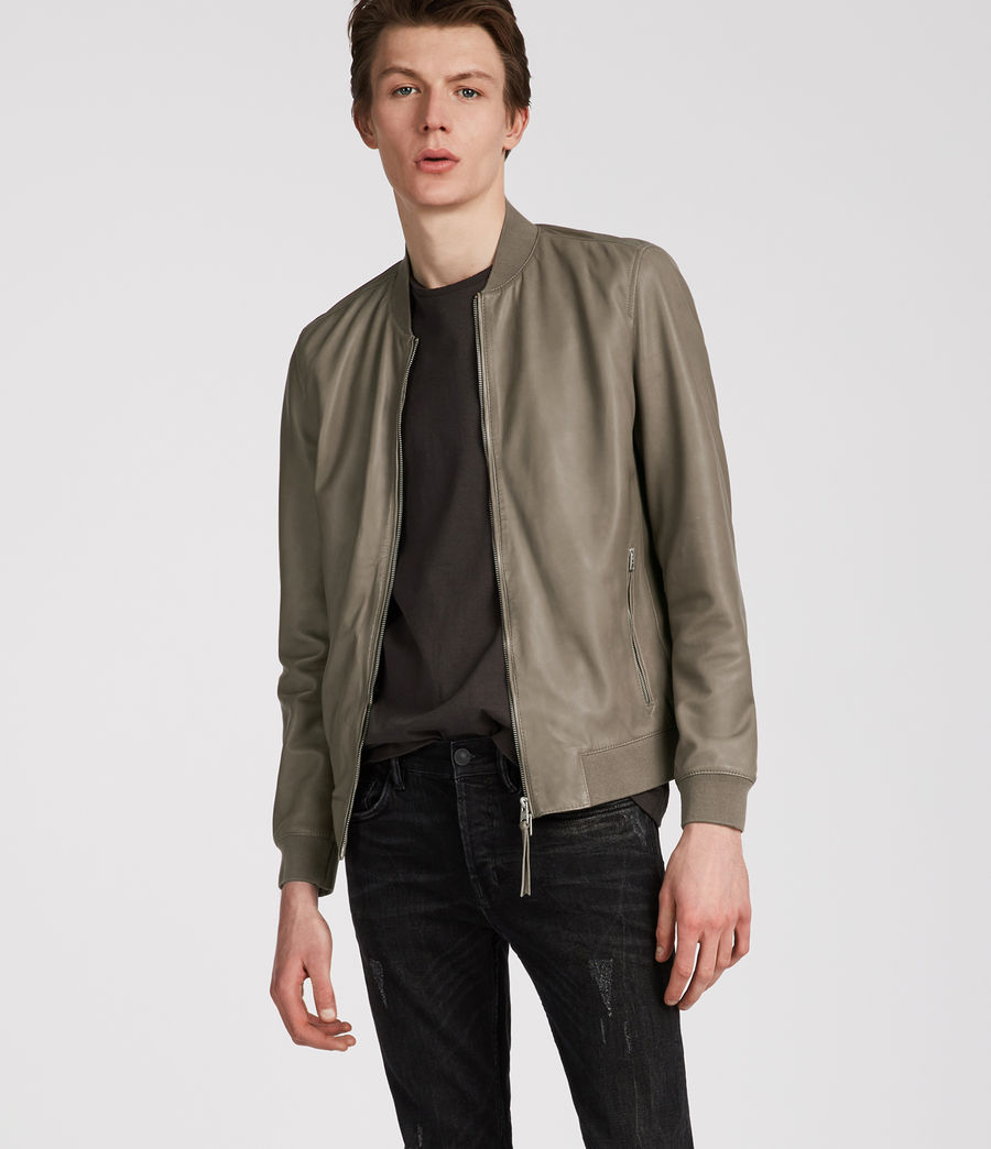 Mens Mower Leather Bomber Jacket (mink_grey) - Image 1