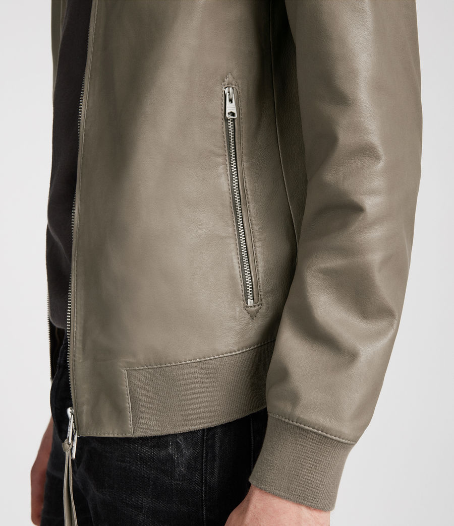Mens Mower Leather Bomber Jacket (mink_grey) - Image 3