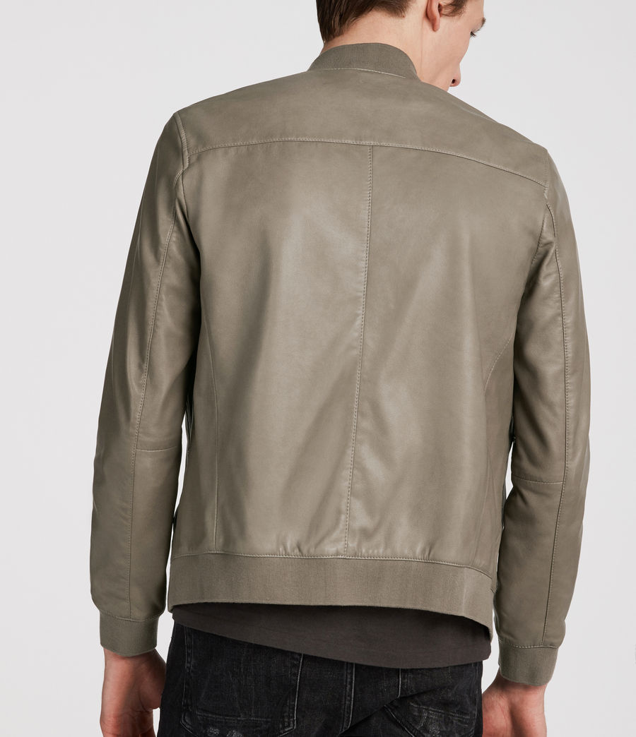 Mens Mower Leather Bomber Jacket (mink_grey) - Image 4