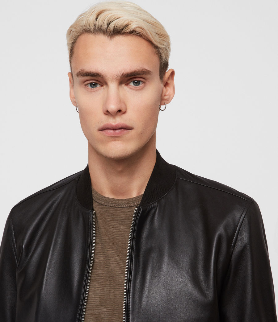 Mens Mower Leather Bomber Jacket (Black) - Image 2