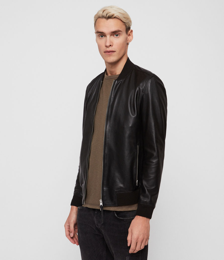 Mens Mower Leather Bomber Jacket (Black) - Image 3