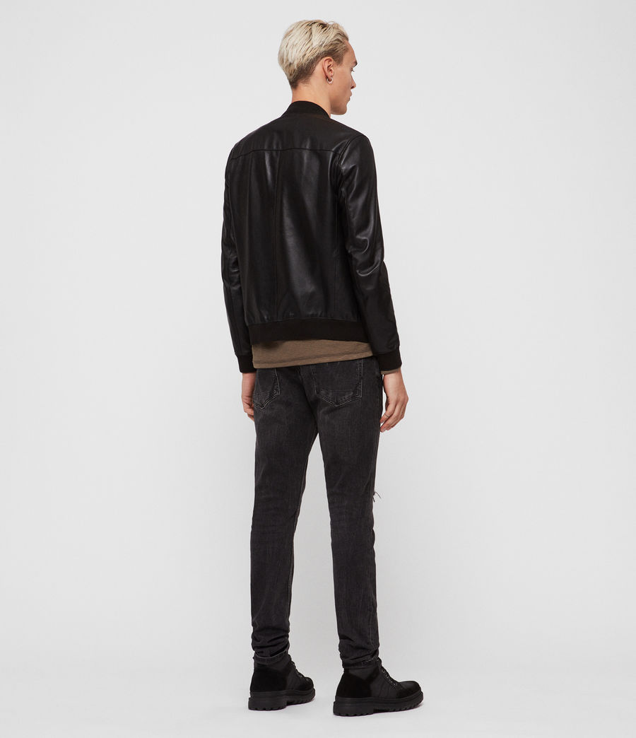 Mens Mower Leather Bomber Jacket (Black) - Image 4