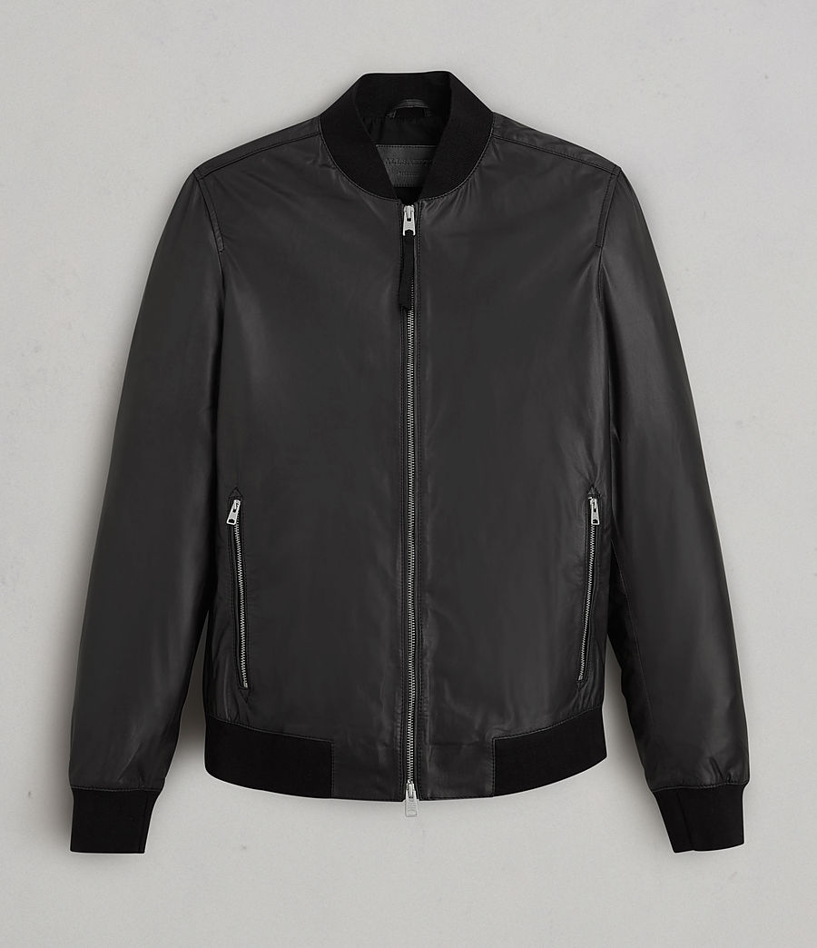 Mens Mower Leather Bomber Jacket (Black) - Image 9
