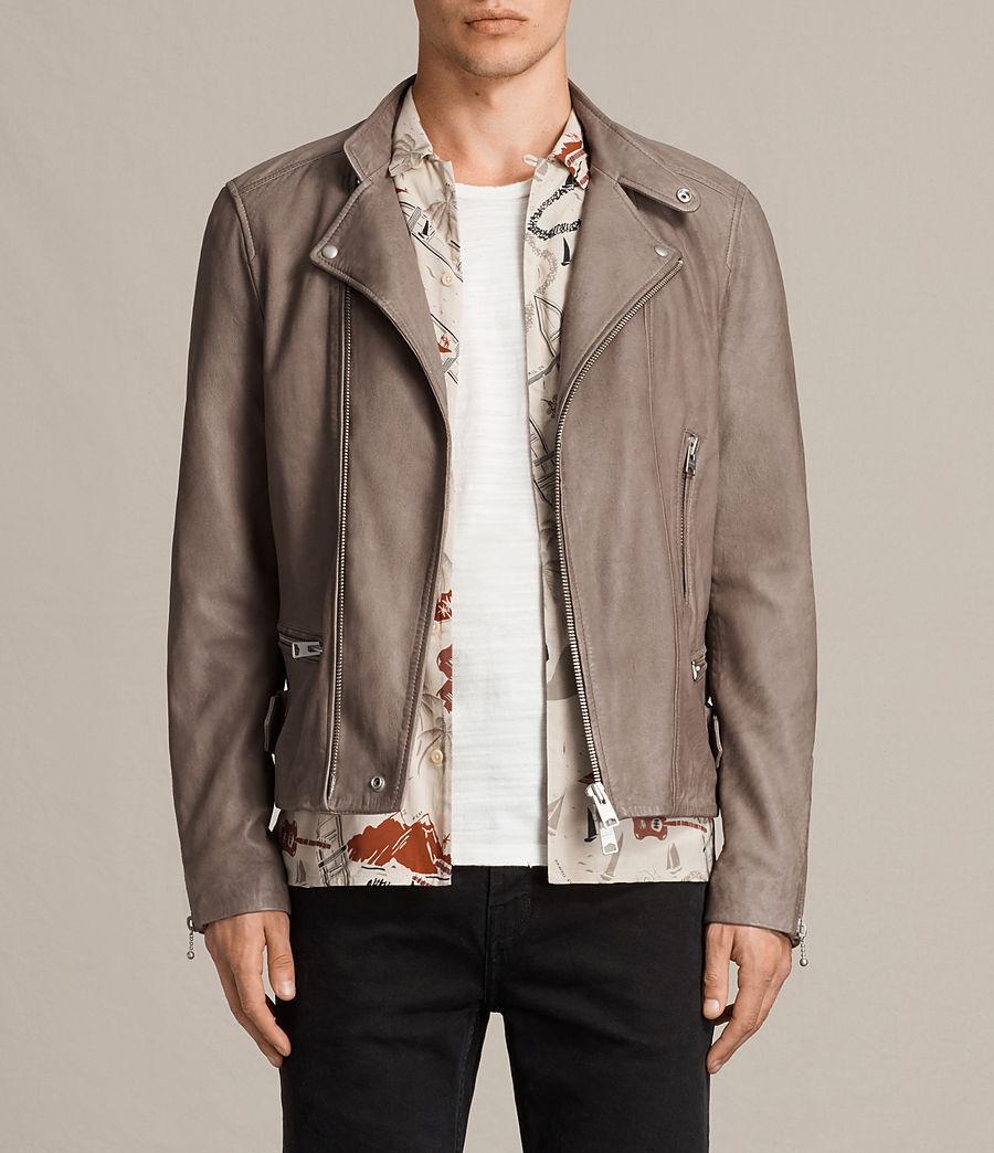 Mens Gibson Leather Biker Jacket (chrome_grey) - Image 1