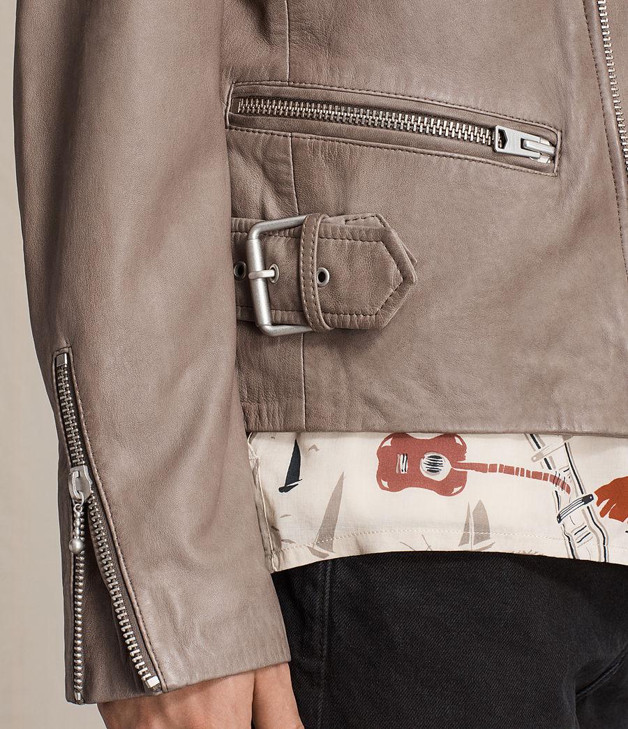 Mens Gibson Leather Biker Jacket (chrome_grey) - Image 2