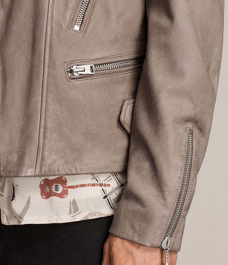 Mens Gibson Leather Biker Jacket (chrome_grey) - Image 4