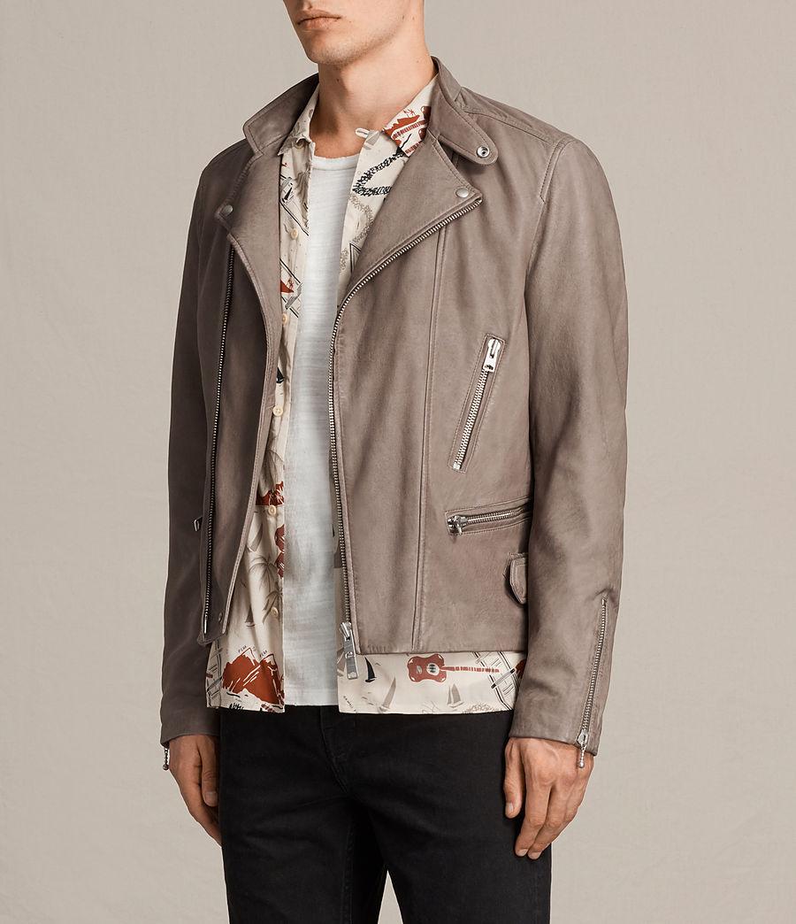 Mens Gibson Leather Biker Jacket (chrome_grey) - Image 5
