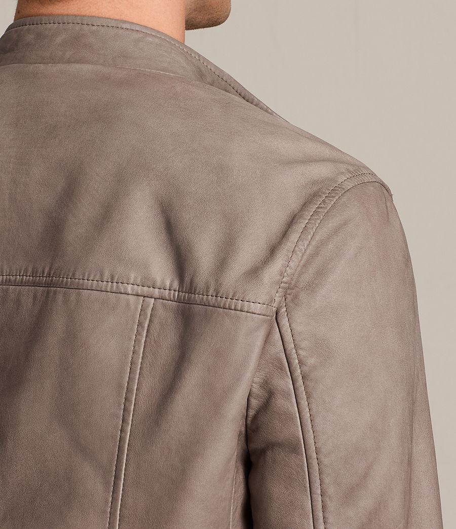 Mens Gibson Leather Biker Jacket (chrome_grey) - Image 6