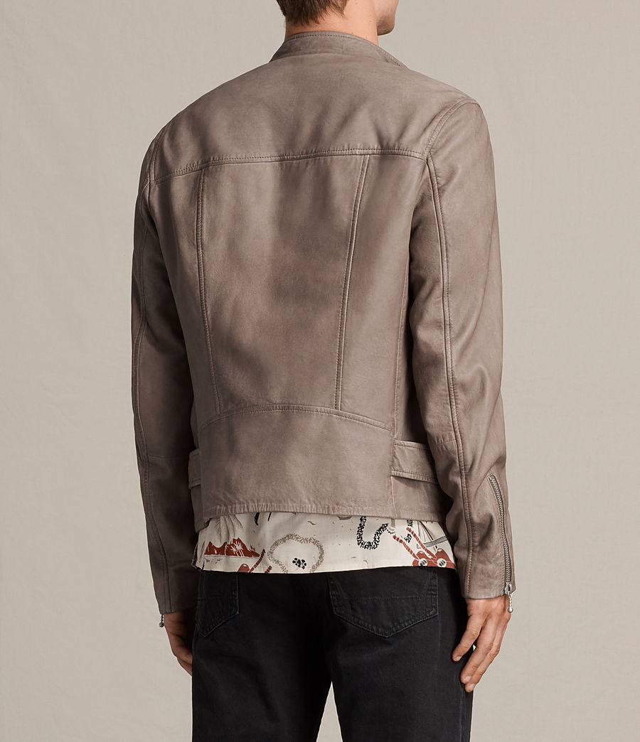 Mens Gibson Leather Biker Jacket (chrome_grey) - Image 7