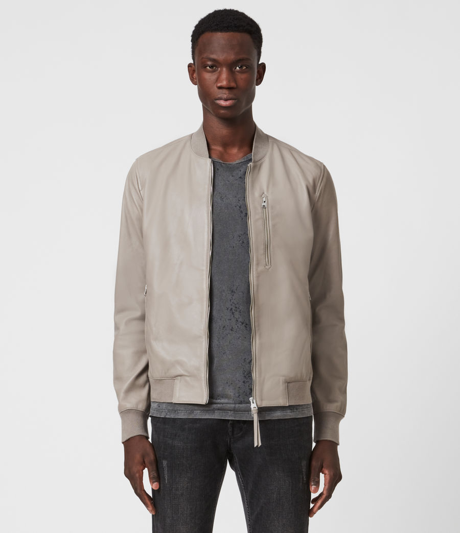 Men's Kiro Leather Bomber Jacket (gravel_grey) - Image 1