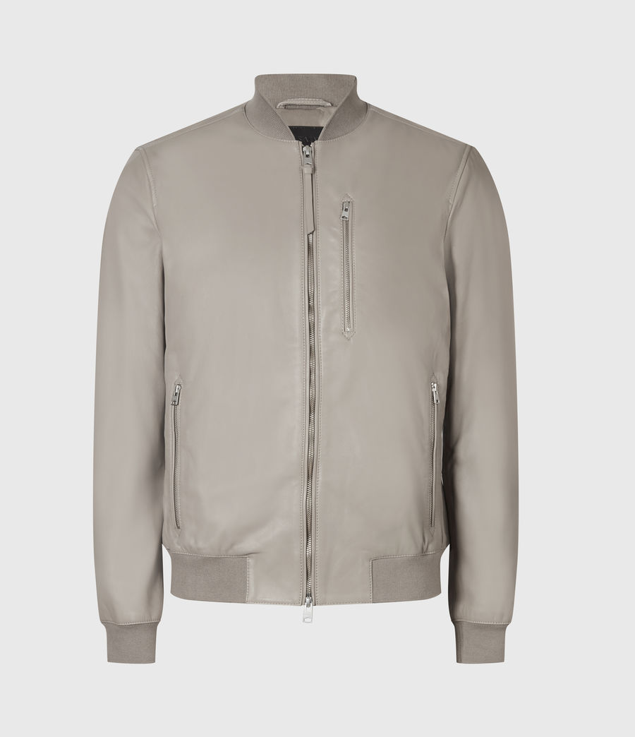 Men's Kiro Leather Bomber Jacket (gravel_grey) - Image 2