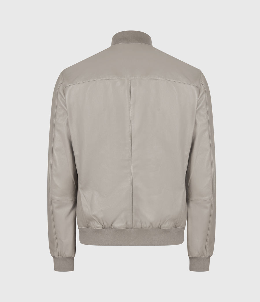 Men's Kiro Leather Bomber Jacket (gravel_grey) - Image 3