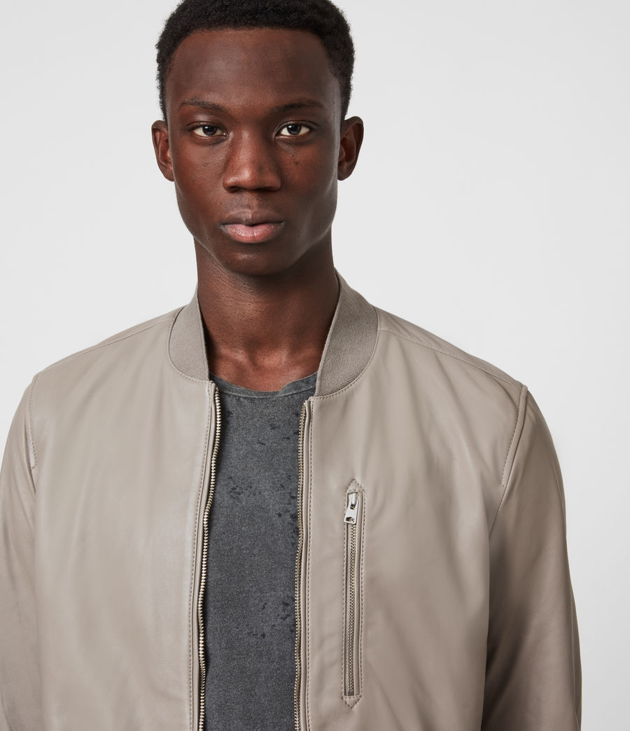 Men's Kiro Leather Bomber Jacket (gravel_grey) - Image 4