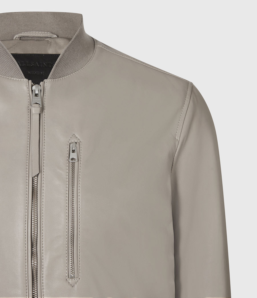 Men's Kiro Leather Bomber Jacket (gravel_grey) - Image 5