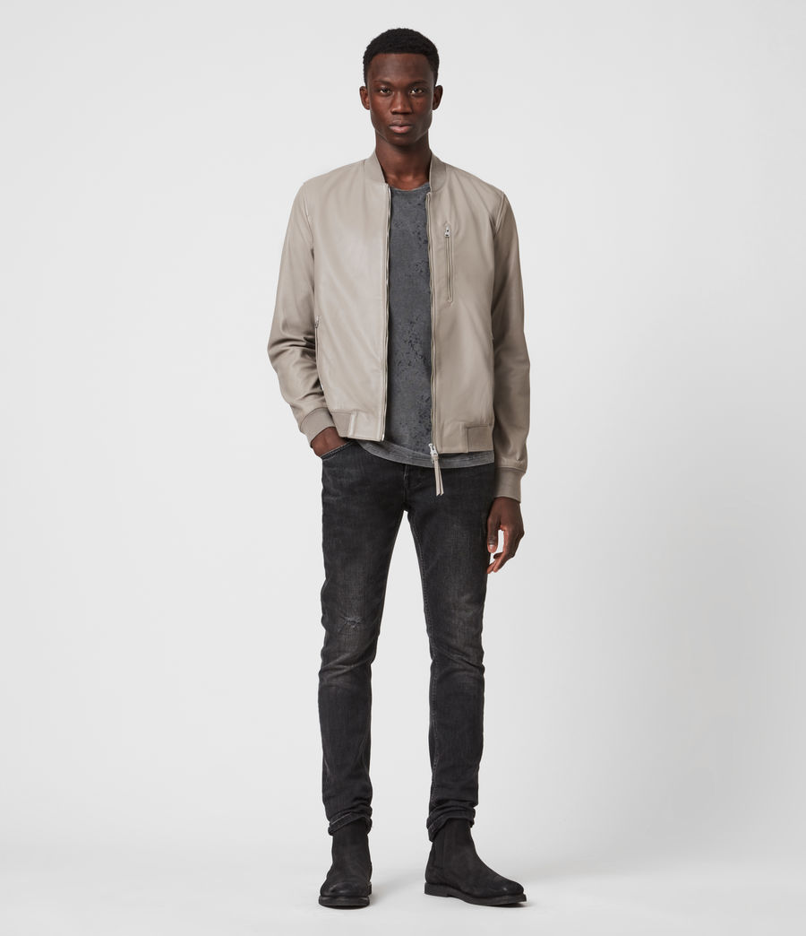 Men's Kiro Leather Bomber Jacket (gravel_grey) - Image 7