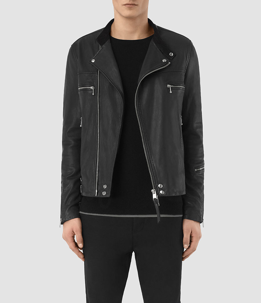 Mens Kline Leather Biker Jacket (black) - Image 2