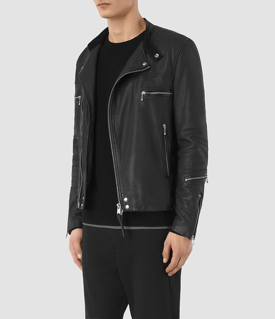 Mens Kline Leather Biker Jacket (black) - Image 4