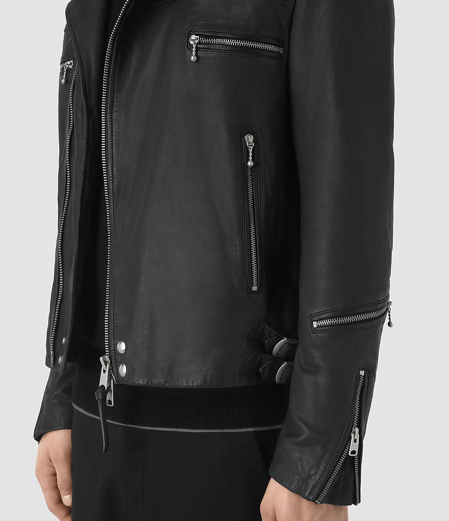 Mens Kline Leather Biker Jacket (black) - Image 5