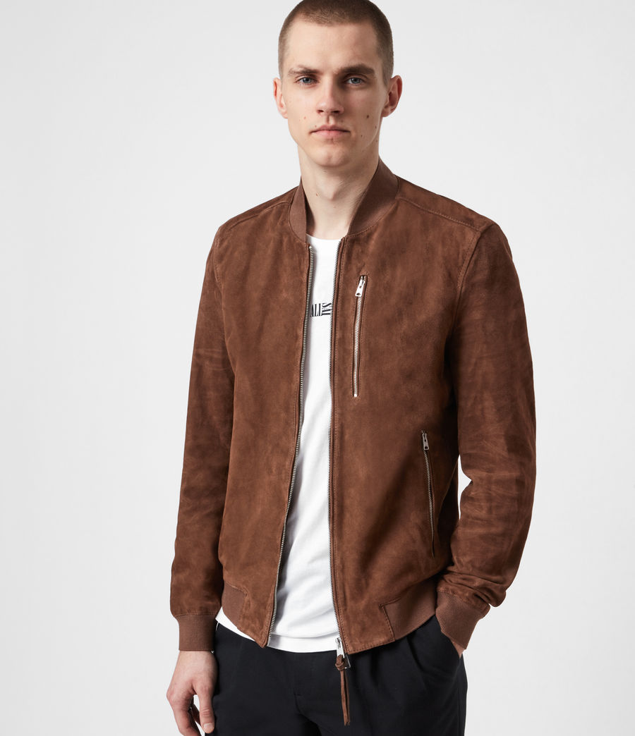 Mens Kemble Suede Bomber Jacket (bitter_brown) - Image 1