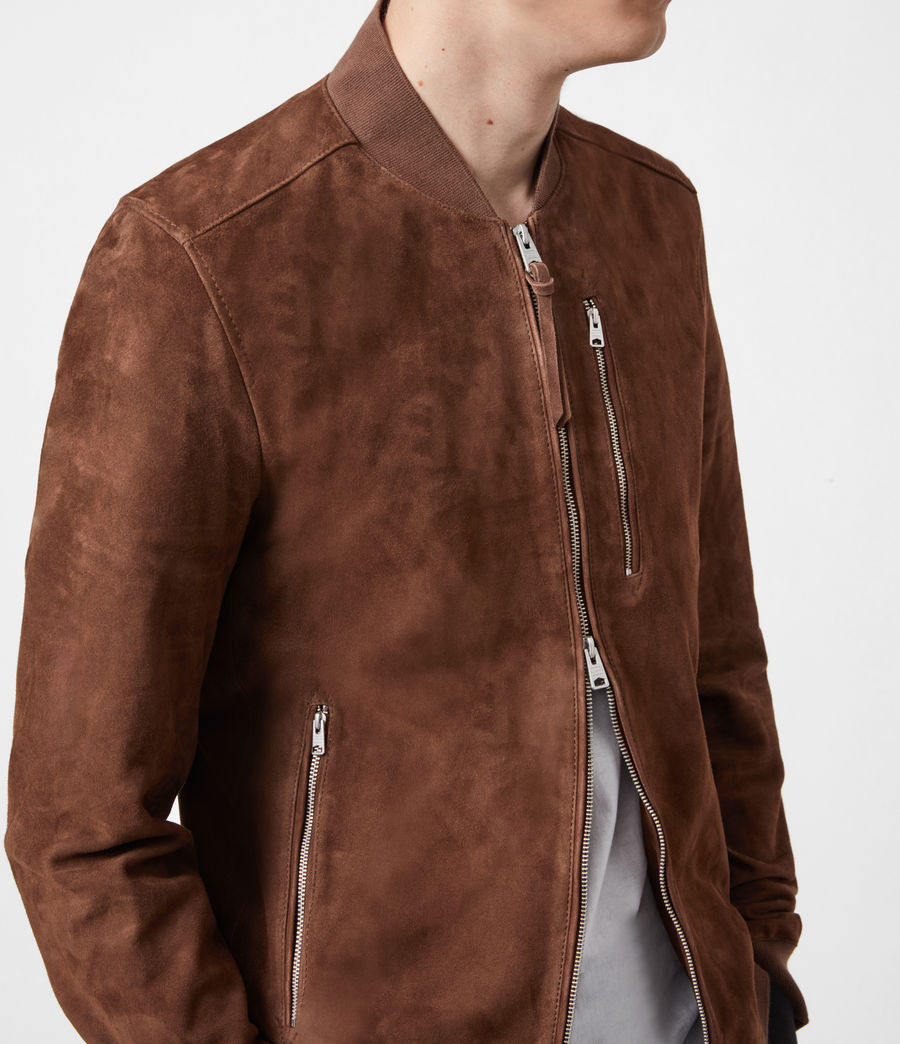Mens Kemble Suede Bomber Jacket (bitter_brown) - Image 6